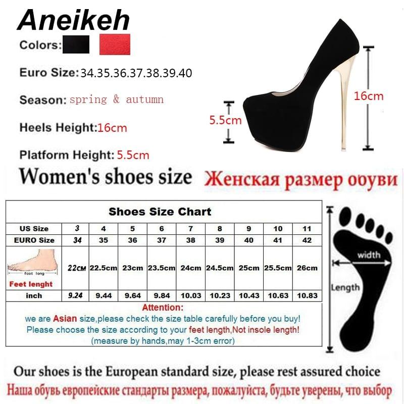 Aneikeh Big Size 41 42 43 44 45 Sexy Pumps Wedding Women Fetish Shoes High Heel Stripper Flock Pumps 16 cm Zapatos Mujer