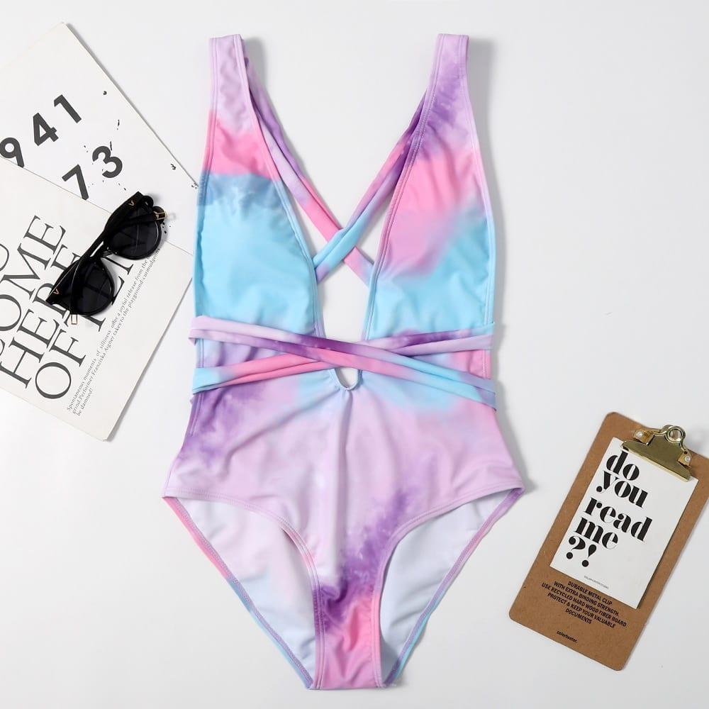 Sexy Deep V Neck Ruffle Swimsuit Lady 2021 Halter Backless Monokini Peplum Thong One Piece Swimwear Women Swim Bath Suit Trikini