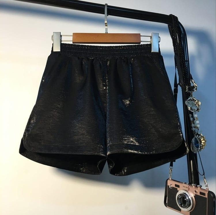 Spring Elastic High Waist Shorts Women Casual Streetwear Bright Silk Mini Hot Shorts Poket Sexy Mujer Wide Leg Shorts Summer