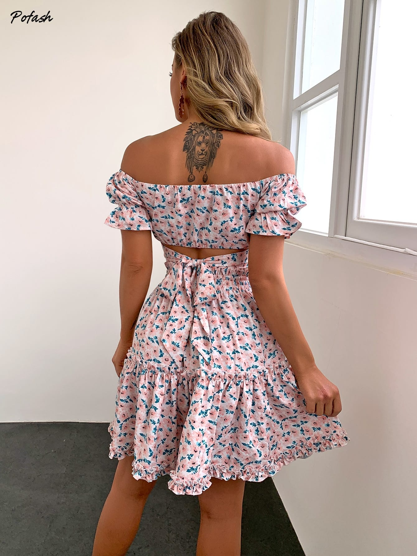 Pofash Orange Floral Print Summer Dress Women Ruffle Puff Sleeves Skirts Set Off Shoulder Lace Up Backless Sexy 2 Piece Outfits