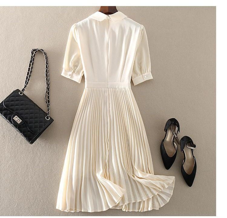 Pleasted Chiffon Dress 2021 Summer Sweet Embroidery Hollow Out Lace Short Sleeve Peter Pan Collar Mini Short Dresses Temperament