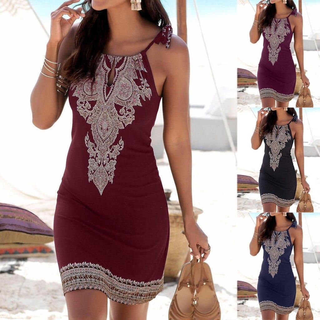Women's Halter Collar Printed Sleeveless Casual Mini Beachwear Dress for Women Print Flower Flowery Beach Dress Female Summer