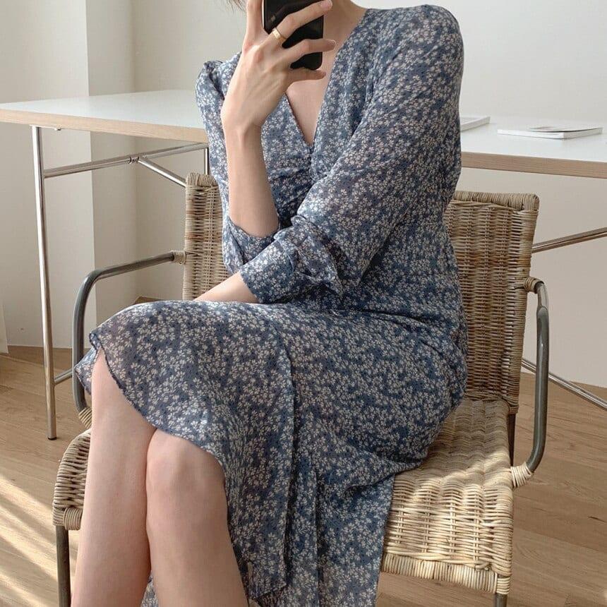 HEROOTD 2021 Summer Elegant Blue Flowery Mermaid Dress for Women V-neck Pleated Long Sleeve with Sashes Mid Female Dress