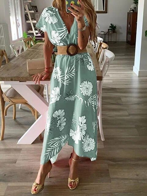 2021 New Woman's Dress Floral Midi Printed Slim Short Sleeved Fashion Summer Dresses for Women Party Flowery Dress Sundresses