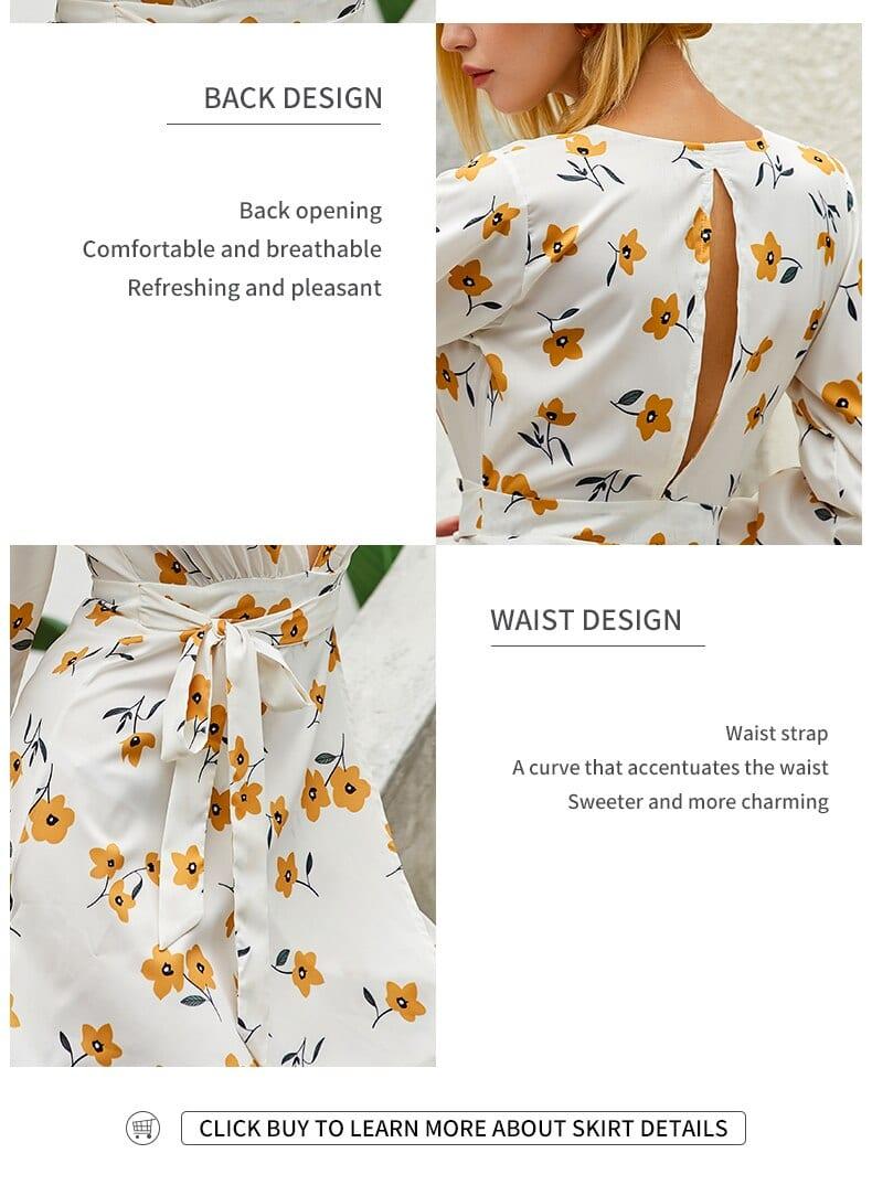 Deep V-Neck Long Sleeve Dress Women White Vintage Flowery Dress Summer Dress Woman 2020 Floral Midi Dress Flower Print Dresses