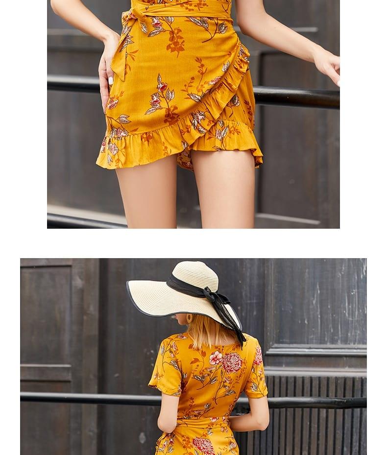V neck Short Dress Summer Sundresses for Women Flowery Dress 2020 Casual Vacation Dress Vintage Floral Mini Sexy Retro Dress